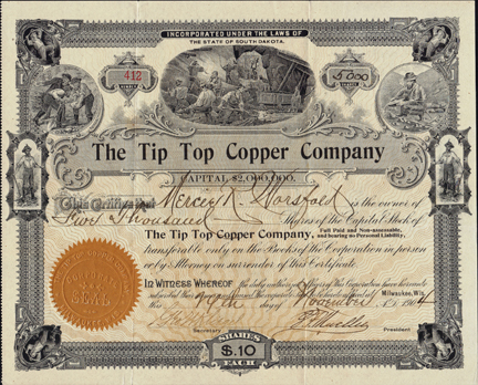 1904 THE TIP TOP COPPER COMPANY - Silver City, New Mexico