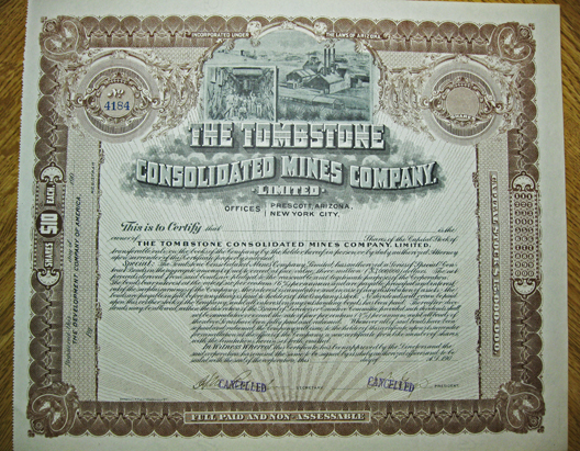 Early 1900s THE TOMBSTONE CONSOLIDATED MINES COMPANY, LIMITED - Tombstone, Arizona - Cochise County