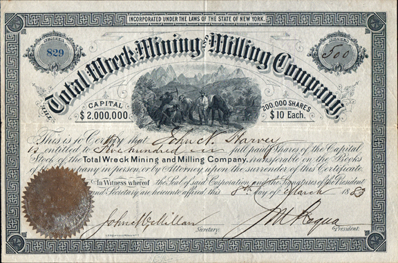 1883 THE TOTAL WRECK MINING AND MILLING COMPANY - Pima County, Arizona Territory