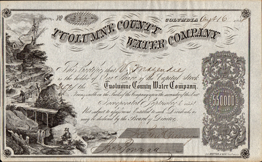 1858 TUOLUMNE COUNTY WATER COMPANY - Columbia, California - Early Gold Rush Document
