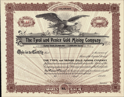1890s THE TRYOL AND VENICE GOLD MINING COMPANY - Colorado