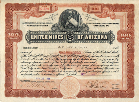 1916 UNITED MINES OF ARIZONA - Bouse, La Paz County, Arizona