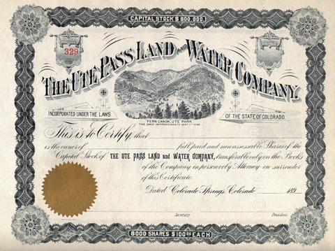1890s THE UTE PASS LAND AND WATER COMPANY - El Paso County, Colorado