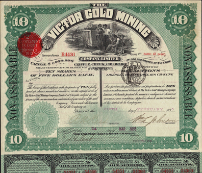 1895 VICTOR GOLD MINING COMPANY - Cripple Creek, Colorado