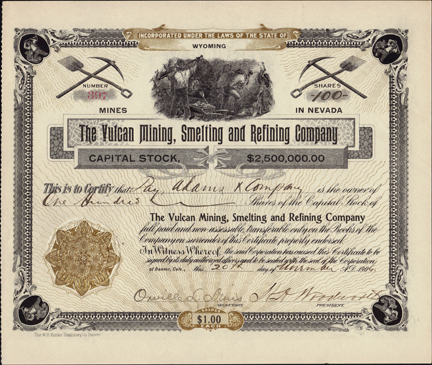 1906 THE VULCAN MINING SMELTING AND REFINING COMPANY - Cherry Creek, Nevada