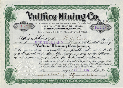 1907 VULTURE MINING COMPANY - Wonder, Nevada