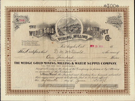 1898 THE WEDGE GOLD MINING, MILLING AND WATER SUPPLY COMPANY - Randsburg, California