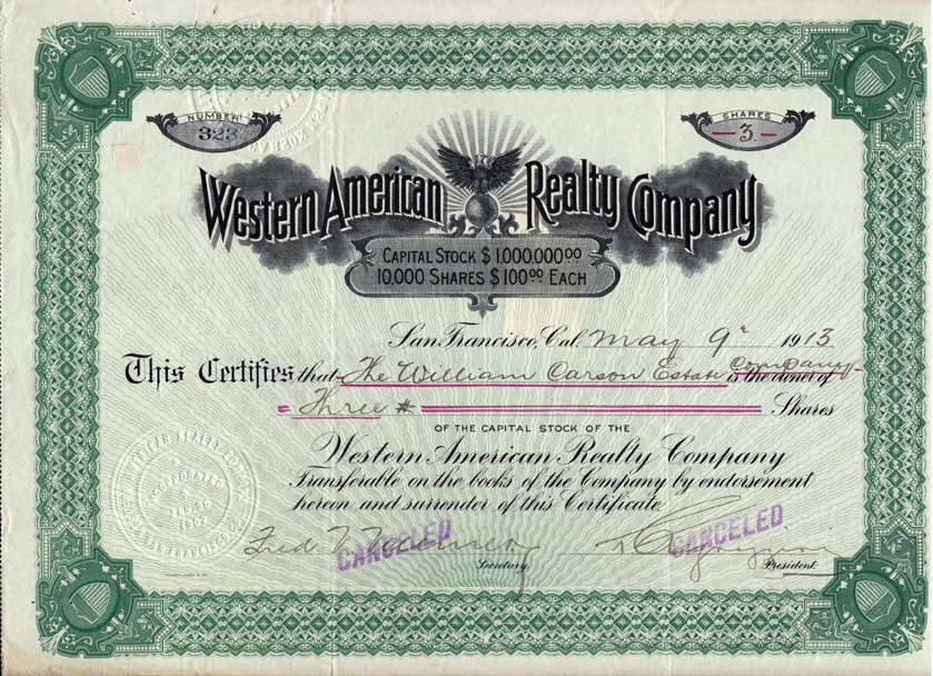 California Mining Certificates – Company Share Certificates