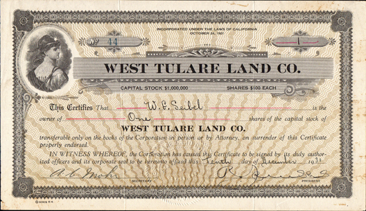 1931 WEST TULARE LAND COMPANY - California