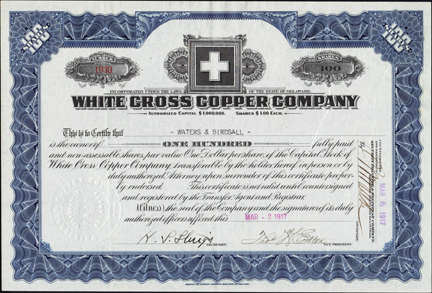 1917 WHITE CROSS COPPER COMPANY - Hinsdale County, Colorado