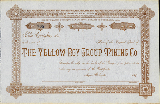 1890s THE YELLOW BOY GROUP MINING COMPANY - Aspen, Colorado - Pitkin County